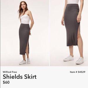 Aritzia Wilfred Free Grey Midi Slit Skirt
